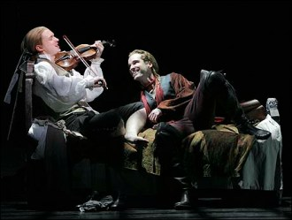 From Left: Roderick Hill and Hugh Panaro in Lestat.